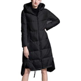 ダウンコート レディース 女性のダウンジャケット冬の長い太いパッド入りルースフード付きダウンジャケットホワイト/ブラック(ほとんどの希望と (Color : Black, Size : S)