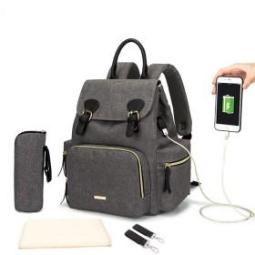 おむつは、ママとパパのためのベビーカーストラップ付きバックパック多機能赤ん坊のおむつバッグ、ファッションリュックサック旅行トートバッグを変更します (Color : Gray, Size : Free)