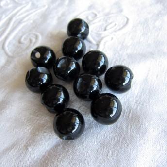 フランスヴィンテージ球体黒のボタン11個13.5cm