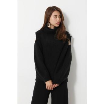 リエンダ rienda Open Shoulder Knit TOP (ブラック)