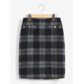 Perle Peche シャギーチェックゴールドボタンタイトスカート(グレー)