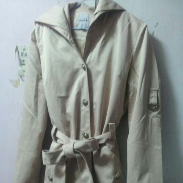 HANA 質感長版風衣外套M號