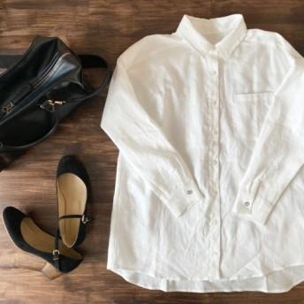 キラッとカフスボタンのリネンシャツ ホワイト