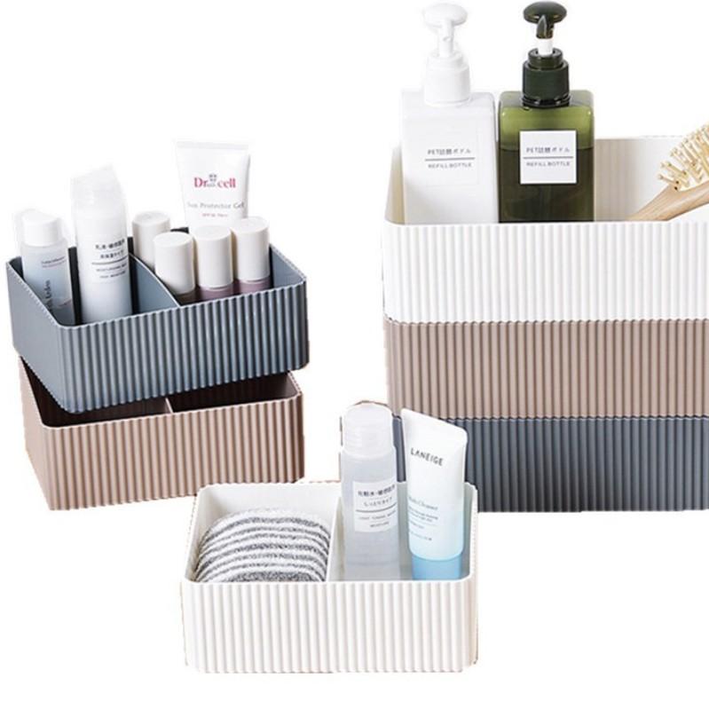 【現貨】居家家塑膠收納盒 分隔收納盒 護膚品盒子 桌面長方形收納盒 化妝品收納盒 整理盒 儲物盒