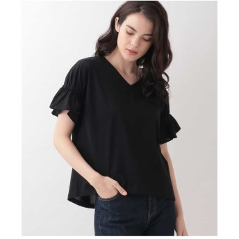 MICHEL KLEIN 【洗える】ギャザースリーブカットソー Tシャツ・カットソー,ブラック