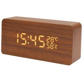 置き時計大音量 音声感知 温度湿度計 USB 電池給電 耐久性が強い上に軽く高品質 ブラウン