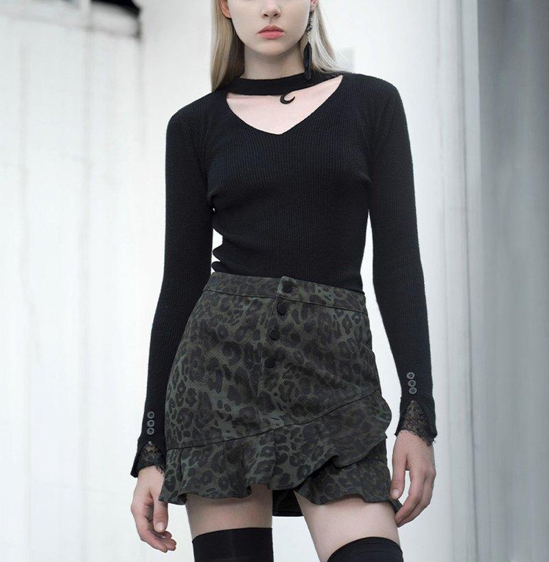 龐克荷葉復古包臀半裙 - 多色 / 僅有豹紋S / 即將絕版