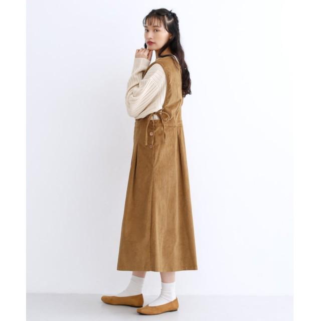 メルロー merlot コーデュロイ2wayジャンパースカート (ベージュ)