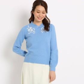 スーナウーナ SunaUna ビーズ刺繍ニットプルオーバー (サックス)