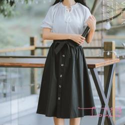 Lockers 木櫃  花苞鬆緊腰綁袋裝飾單排釦半身A字裙-4色