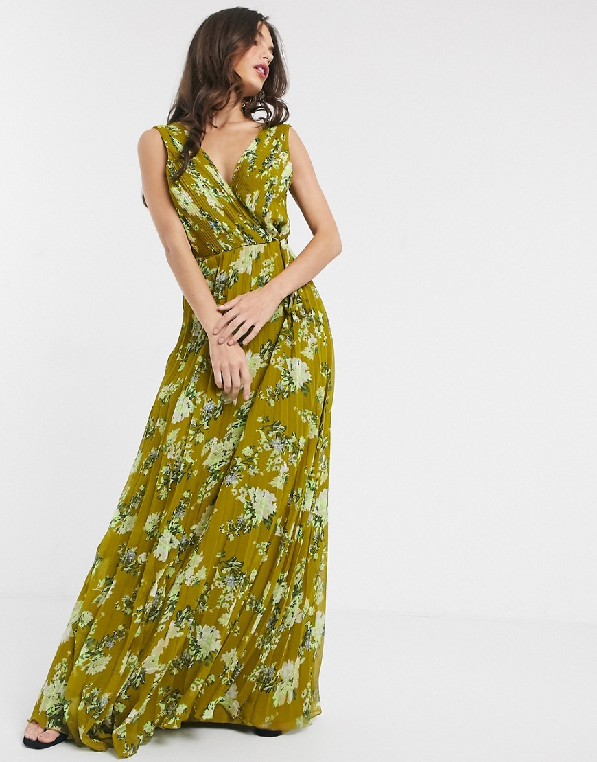 ASOS DESIGN wrap bodice maxi dress with tie waist and pleat skirt in floral print-Multi