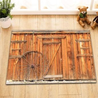 Assanu シンプルな北欧スタイルの西部の町の木製の納屋の車輪の木製のドア防水カーペットフランネル素材40 x 60 cmに配置された浴室の浴室部屋の装飾に適した