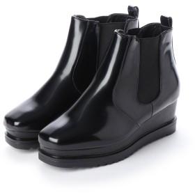 SFW ラブハンター LOVEHUNTER 高めのヒールで美脚効果抜群の'おじ靴'厚底スクエアサイドゴアブーツ/1512 (ブラックエナメル)