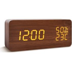 FIBISONIC 置き時計 目覚し時計 デジタル 木製 LED 大音量 アラーム カレンダー付 温度湿度計 多機能 音声感知 USB給電式 卓上寝室 ウッド ナチュラル風 おしゃれ プレゼント (ブラウン・オレンジ字)
