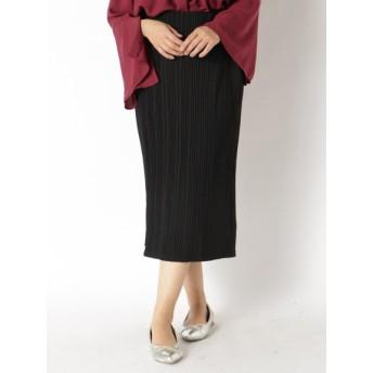 【大きいサイズレディース】【L-3L】美脚魅せカットソープリーツスカート スカート ロングスカート