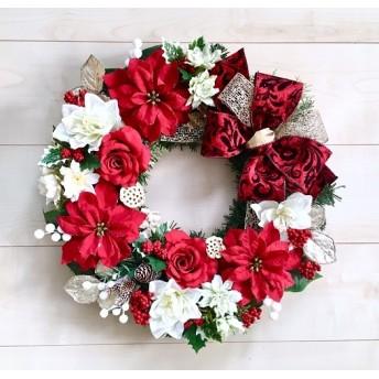 No. xmas-14368/★ クリスマスリース/ xmasリース19-(33) レッド・ポインセチア 45cm・アートフラワー/造花リース