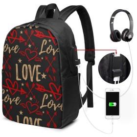 バレンタイン リュック バックパックリュックサック USB充電ポート付き イヤホン穴付き 大容量 PCバッグ レジャーバッグ 旅行カバン 登山リュック ビジネスリュック ユニセックス おしゃれ 人気
