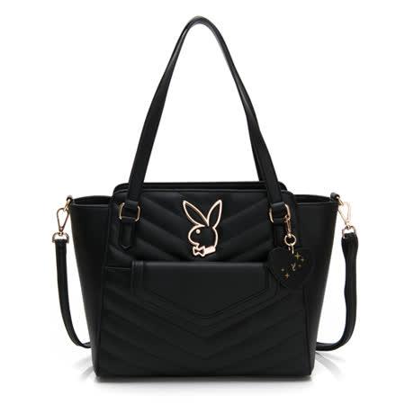 PLAYBOY-  托特包附長背帶 摩登小兔系列 -黑色