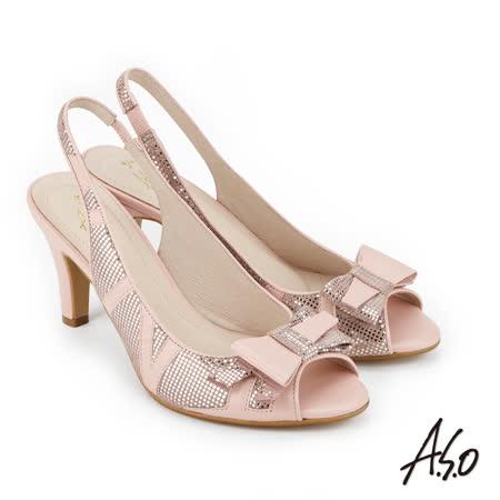 A.S.O 炫麗魅惑 優雅水鑽點綴魚口高跟鞋(粉紅)