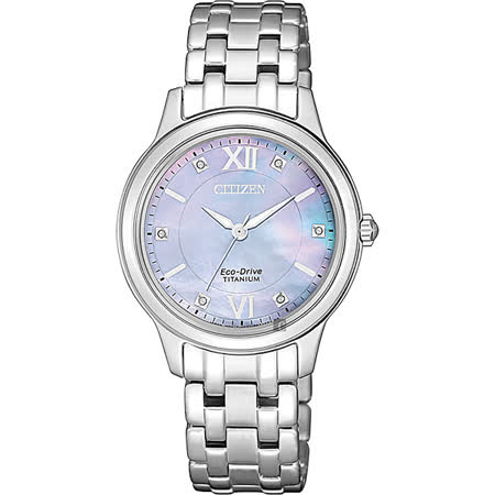 CITIZEN 星辰 光動能 鈦金屬腕錶-珍珠貝x銀/30mm  EM0720-85Y