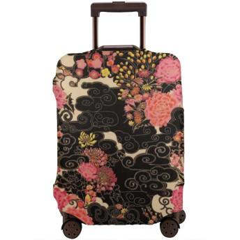 スーツケースカバー お荷物カバー ラゲッジ保護カバー 和風 花柄 伸縮素材 欧米風 キャリーバッグ ジッパー 防塵 防水 盗難 汚れ 傷 防止 通気性 出張 旅行