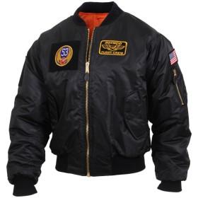 ロスコMA-1フライトジャケット パッチ付 RothcoMA-1 Flight Jacket with Patches (M, ブラック)
