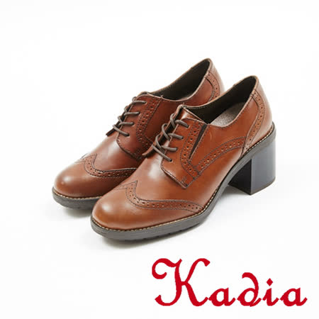 kadia.英式學院風-花邊綁帶粗跟牛津鞋(7502-70咖啡)