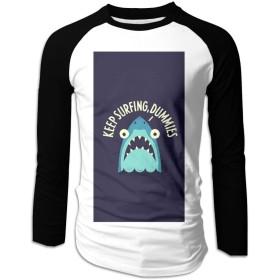 ロンT ロングスリーブスウェットTシャツ 驚くサメ 男子トップス オシャレプリント メンズ 長袖 面白い カジュアル 綿