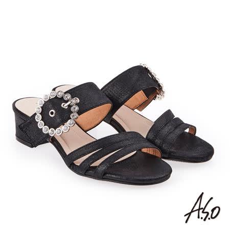 A.S.O 炫麗魅惑 金箔絨面低跟奈米涼拖鞋(黑色)