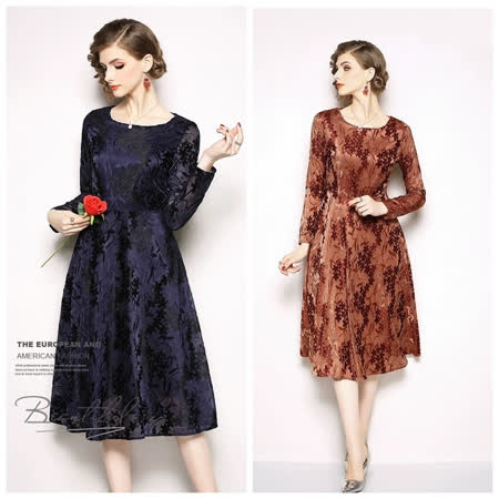 Olivia奧莉精品 精美蕾絲長袖修身洋裝 S~3XL 蕾絲 洋裝 連身裙 禮服 伴娘服 媽媽裝