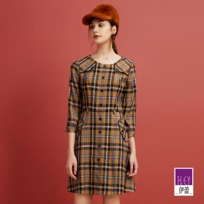 ILEY伊蕾 復古格紋風衣造型洋裝(可)
