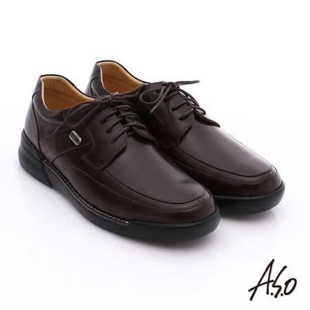 A.S.O 超能耐 綁帶羊皮寬楦奈米皮鞋(咖啡)