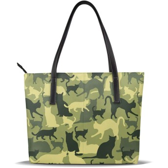 バッグ トートバッグ おもしろ 猫 迷彩 手提げバッグ ショルダーバッグ PUレザー ハンドバッグ レディース 大容量 防水 A4対応 軽量 ビジネス 通勤 通学 誕生日プレゼント