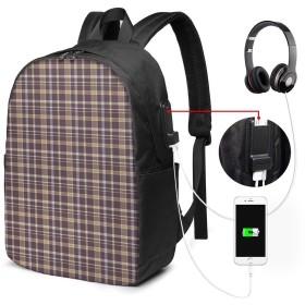バックパック USB ポート搭載 17インチPC対応 昔ながらの形のライン 大容量ビジネスリュック 通勤 通学 出張 旅行 メンズ レディース