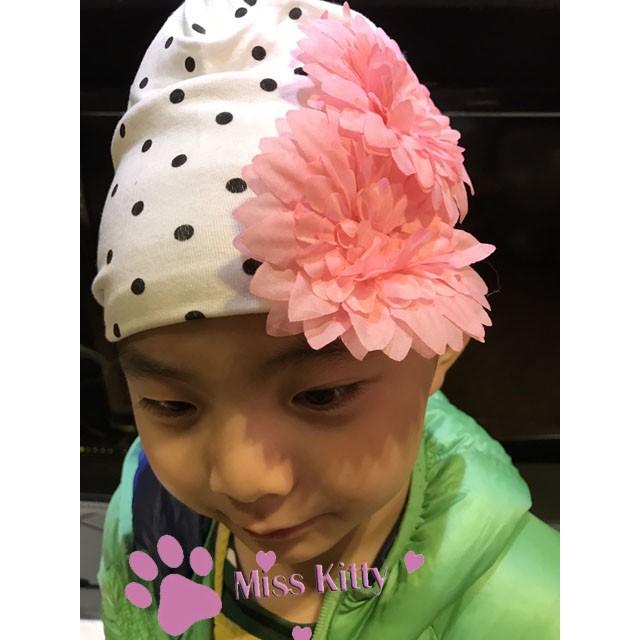 新款歐美風寶寶嬰兒女童大花朵春秋純棉布套頭帽子頭飾