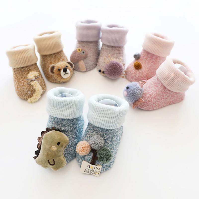秋冬加厚珊瑚絨防滑寶寶地板襪 立體公仔卡通中筒新生嬰兒襪子【IU貝嬰屋】