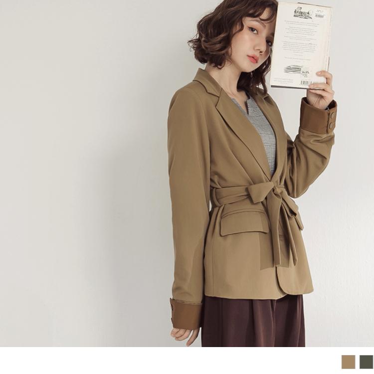 純色附綁帶袖口配色反褶長袖西裝外套