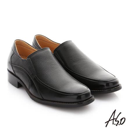 A.S.O 勁步雙核心 全真皮鬆緊帶奈米紳士鞋(黑)