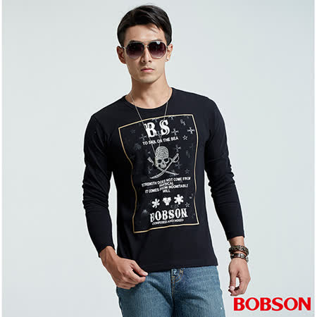 BOBSON 男款圓領骷髏印圖黑色上衣 (35026-88)