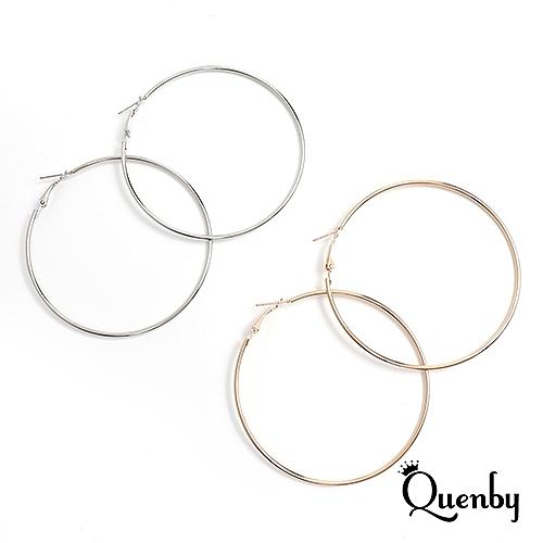 Quenby 歐美經典百搭大圓圈耳環/耳針