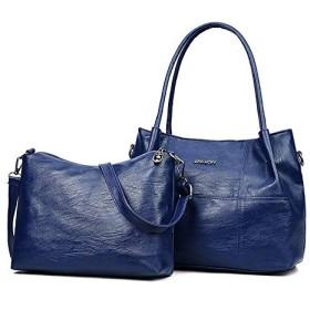 ハンドバッグメッセンジャーバッグ 1カジュアルPUショルダーバッグレディースハンドバッグメッセンジャーバッグに付き2 (色 : Blue)