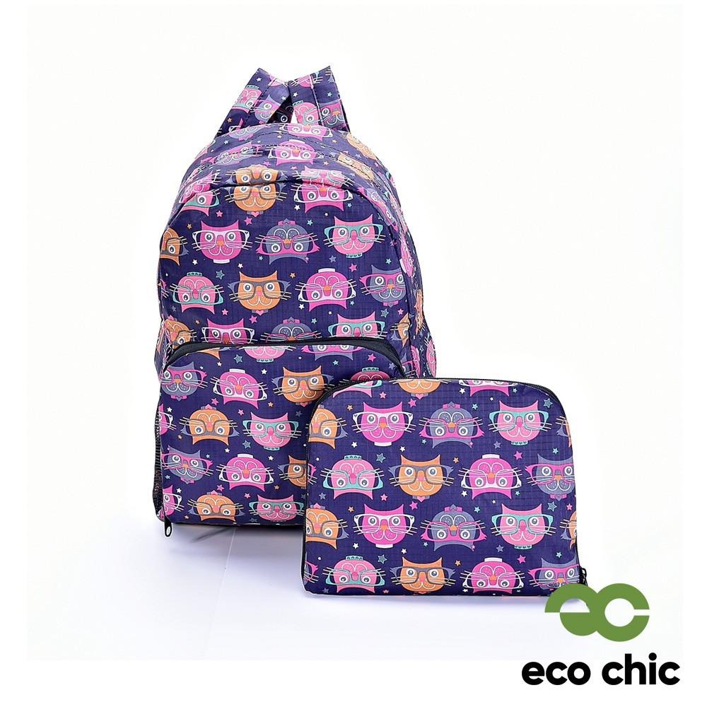 【英國ECO CHIC】折疊收納後背包-眼鏡貓