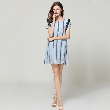 【最水】時髦氣場拼接A字裙洋裝