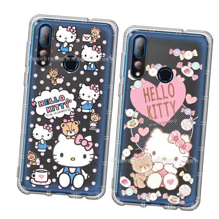 三麗鷗授權 Hello Kitty凱蒂貓 HTC Desire 19s/19+ 共用款 愛心空壓手機殼(吃手手/咖啡杯) 有吊飾孔