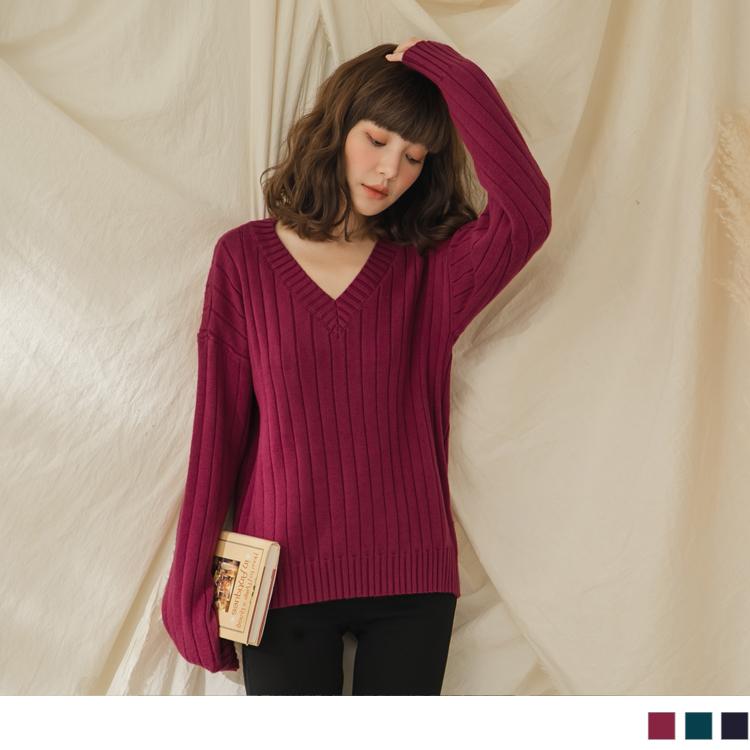 純色V領柔軟直坑條保暖包芯紗長袖針織上衣