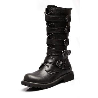 [YYBO] ロングブーツ メンズ 28.0cm ヒールブーツ メンズブーツ レースアップ 編み上げ。ロングブーツ メンズ ヒールブーツ ブラック裏ボア メンズブーツ 革靴 レースアップ 編み上げ ブラック 黒 カジュアルシューズ メンズシューズ 大人