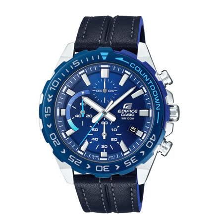 EDIFICE 運動時尚三眼男錶 不鏽鋼錶帶 紅黑跳色 防水100米(EFR-566DB-1A)