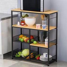 キッチンラック 棚 収納ラック 80  35  94 Cmの黄色梨ウッド、ブラックフレームキッチンラック、床に立っ多層ストレージラック、電子レンジラック、食器棚、家庭用ストレージラック、