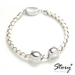 STORY 故事銀飾-雙星仙子系列 kikilala-經典串珠手鍊-皮繩款(白皮繩款)
