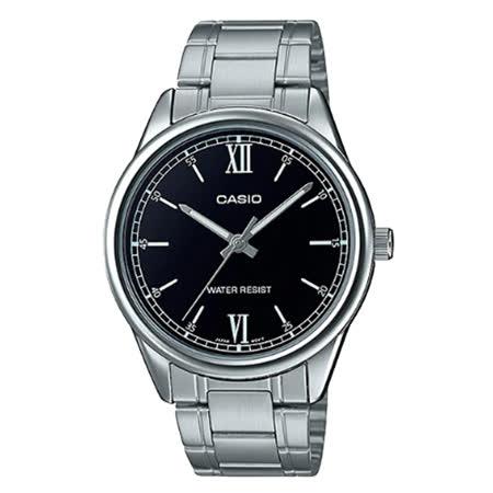 CASIO 卡西歐 指針男錶 不鏽鋼錶帶 黑 生活日常防水(MTP-V005D-1B2)